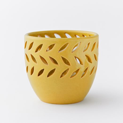 Pierced Ceramic Votives, Diagonal Pattern, Light Honey