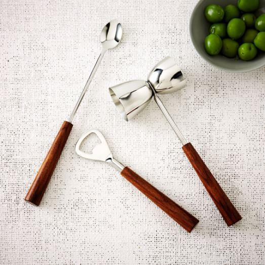 Wood Handled Bar Tools, 3 Piece Set