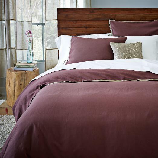 Linen Cotton Blend Duvet Cover, Twin, Light Raisin