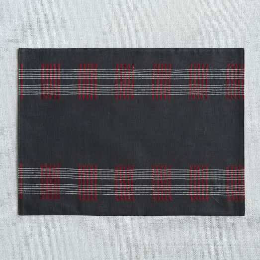 Crossed Lines Placemat, Slate, Set of 2