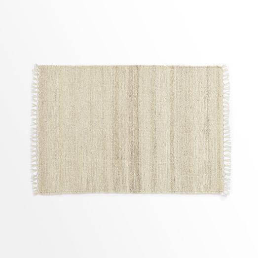 Metallic Pinstripe Wool Dhurrie Rug, Ivory/Silver, 2'x3'