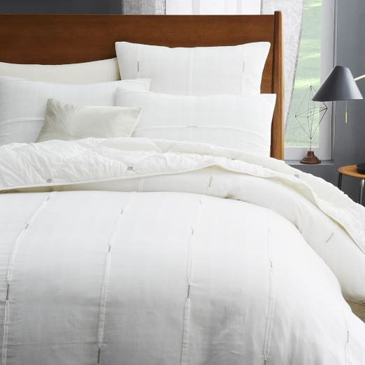 Silver Stitch Pleat Duvet Cover, Twin, Stone White