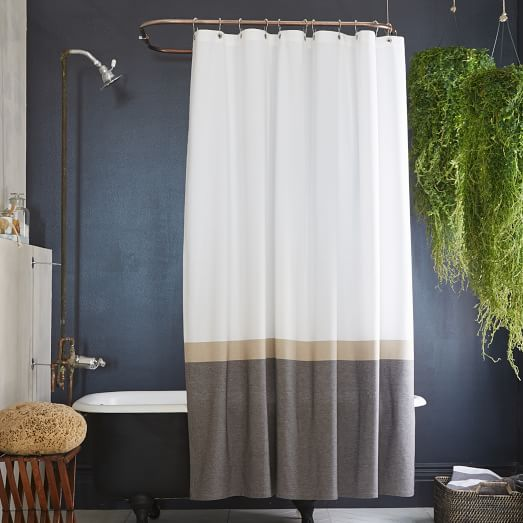 Horizon Stripe Shower Curtain, Slate