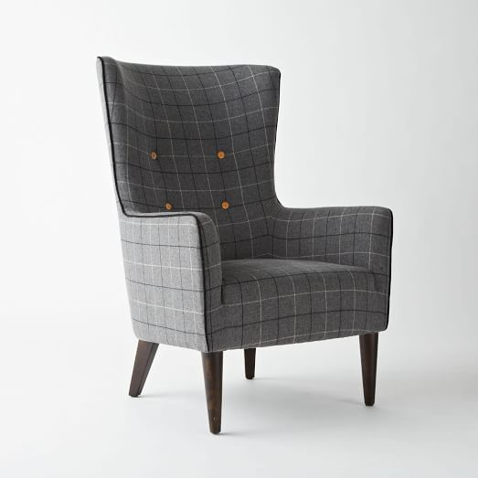 Victor Chair, Plaid, Wool