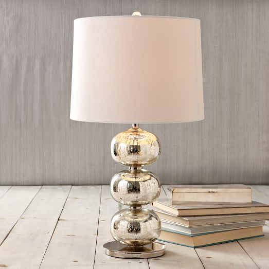 Abacus Lamp, Mercury/White Linen- CFL