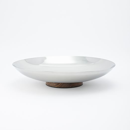 Mid-Century Entertaining, Silver Metal + Wood, Low Bowl