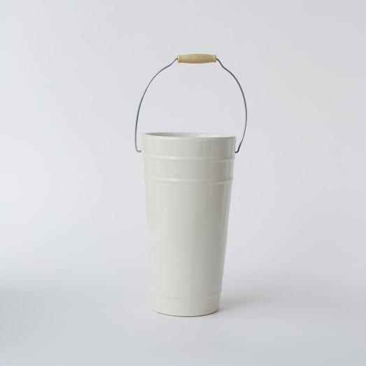 Floral Ceramic Bucket Vase, Small
