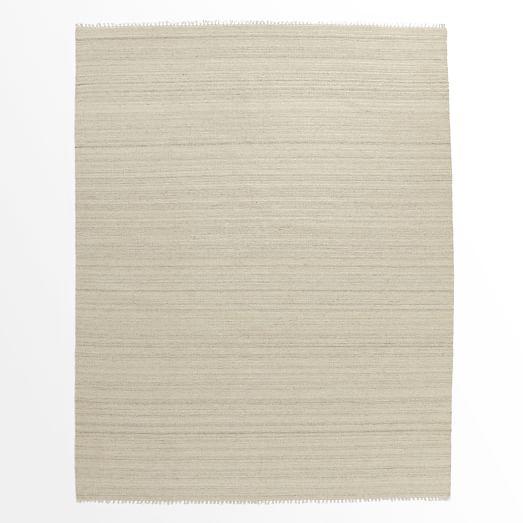 Metallic Pinstripe Wool Dhurrie Rug, Ivory/Silver, 9'x12'