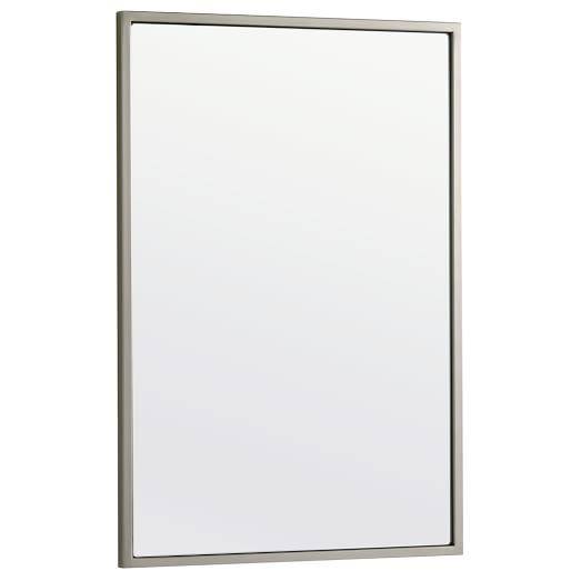 Metal Framed Wall Mirror, Brushed Nickel