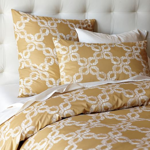Organic Carved-Circles Duvet, Twin, Maize/White