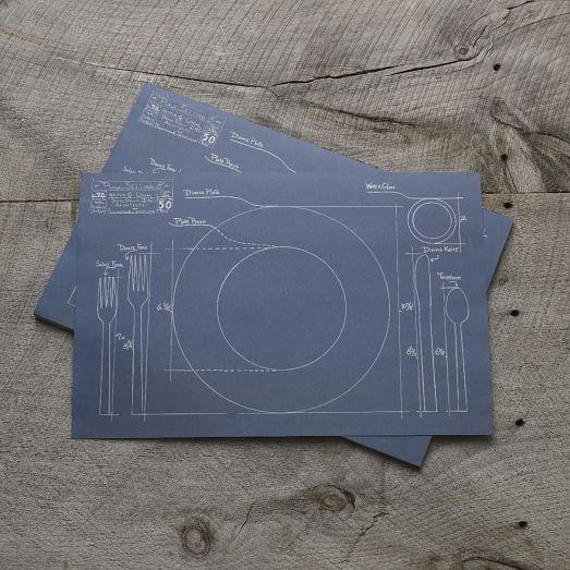 Kitchen Paper Placemats, Blueprint Table Setting