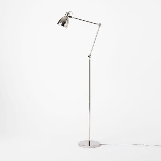Industrial Task Floor Lamp, Polished Nickel