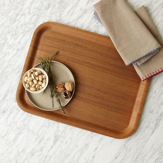 Wood Veneer Tray, Dark Wood