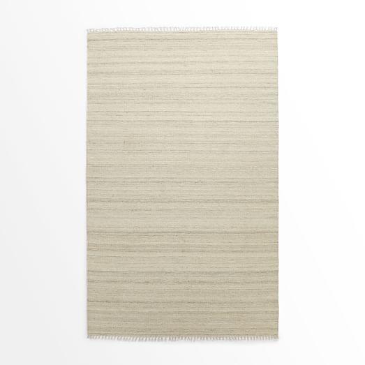 Metallic Pinstripe Wool Dhurrie Rug, Ivory/Silver, 3'x5'