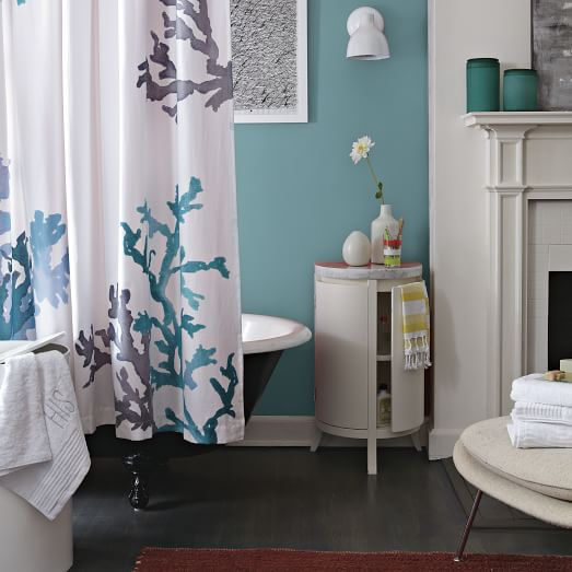 Coral reef shower curtain west elm for Coral reef bathroom decor