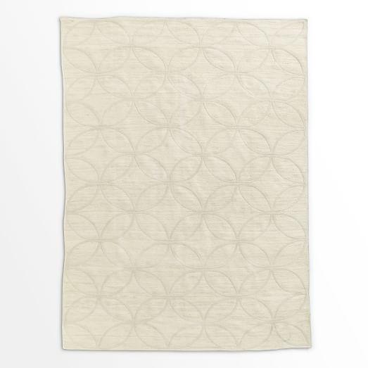 Metallic Leaf Tile Jute Rug, Silver/Ivory, 9'x12'