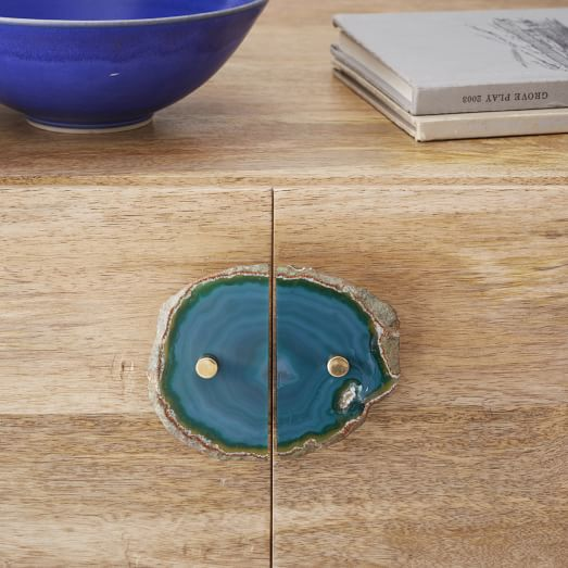 Agate + Brass Cabinet Pull, Green