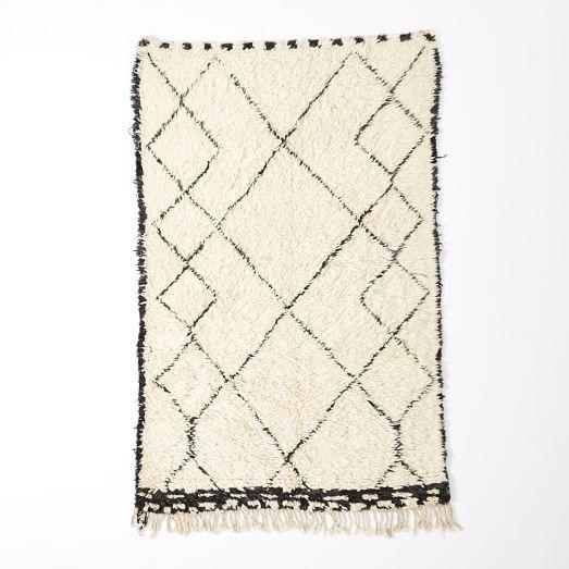 Beni Ouarian Rug, 4x5'.5', Ivory