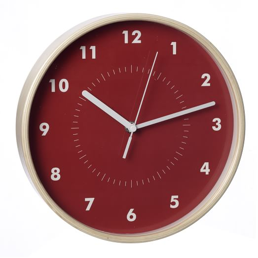 Simple Wood Wall Clock, Red