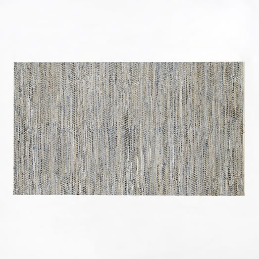 Recycled Denim Jute Rug, 2'x3', Denim Blue