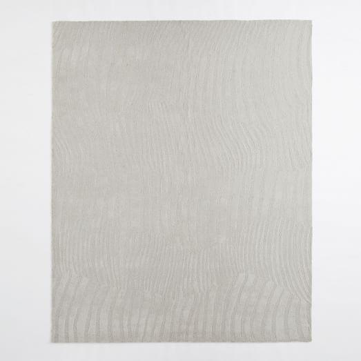 Ripple Stripe Wool Rug, 3'x5', Frost Grey