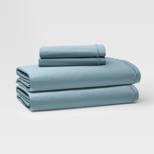 Organic Cotton Frayed-Edge Sheet Set, Cal King, Sea