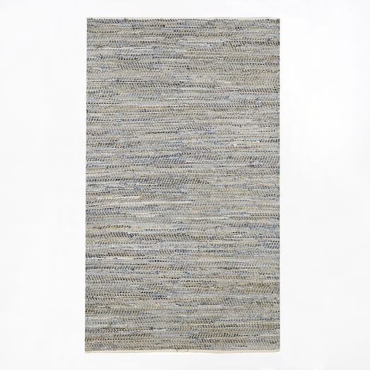 Recycled Denim Jute Rug, 5'x8', Denim Blue