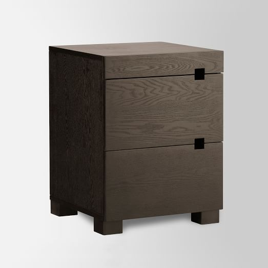 Square Cutout Nightstand, Chocolate-Stained Veneer