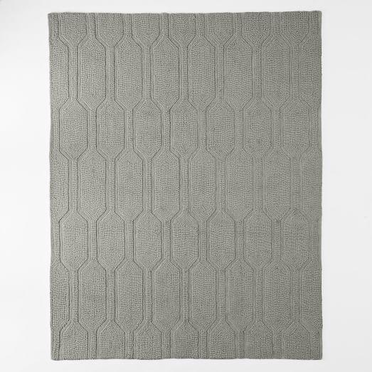 Cosy Textured Wool Rug: Honeycomb Textured Wool Rug - Plaster