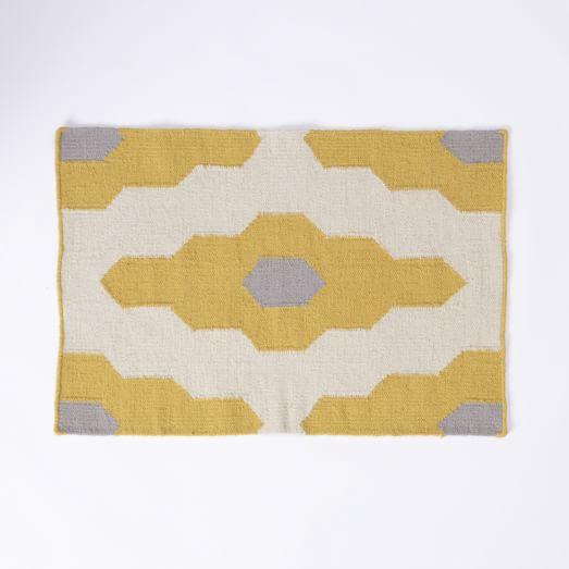 Bazaar Wool Dhurrie Rug, 2'x3', Ochre