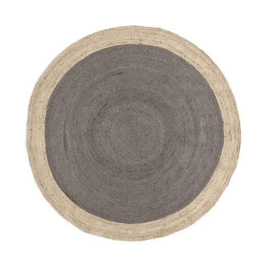 SPO Bordered Round Jute Rug, 6' Round, Platinum