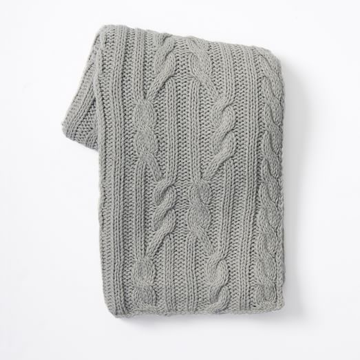 Braided Cable Throw, Platinum