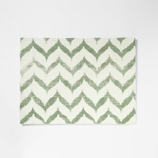 Ikat Zig Zag Printed Placemat, Pale Loden, Set of 2