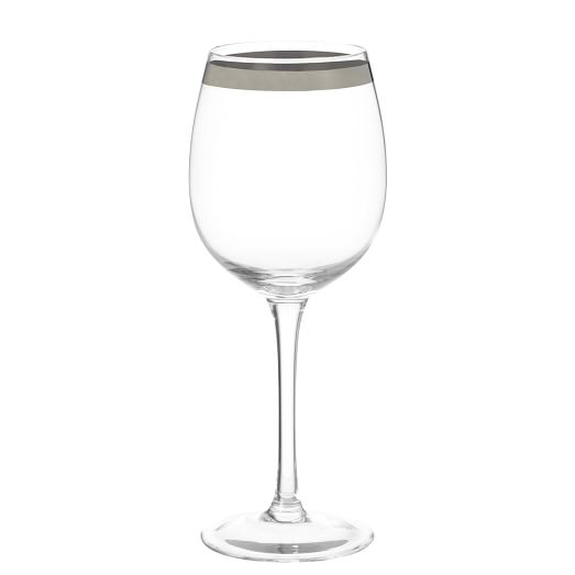 Platinum Banded Drinkware, Set of 4, White Wine