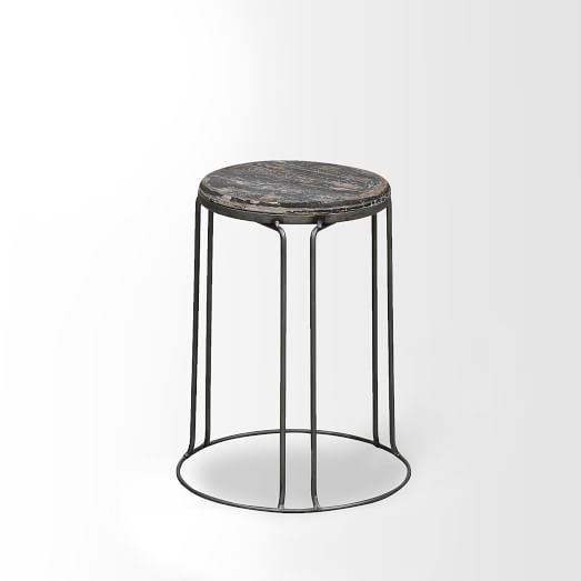 Wire Base Stool, Black, Set of 2