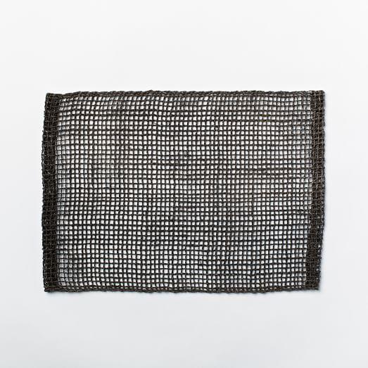 Fishnet Woven Placemats, Set of 2, Black