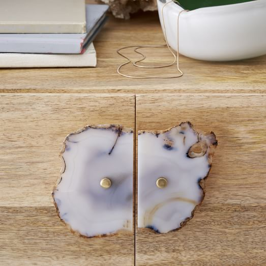 Agate + Brass Cabinet Pull, Light Gray