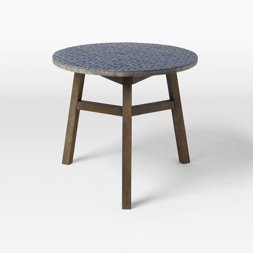 Mosaic Bistro Table, Indigo/Wood