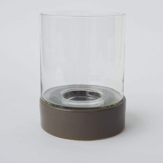 Glass And Ceramic Hurricane, Large, Gray