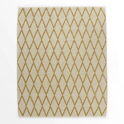 Knotted Diamonds Rug, Ivory/Horseradish, 9'x12'