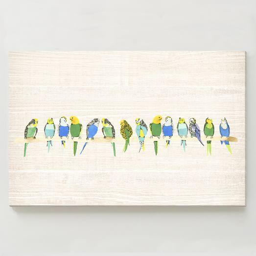 Birch Print, Parakeets on Branch