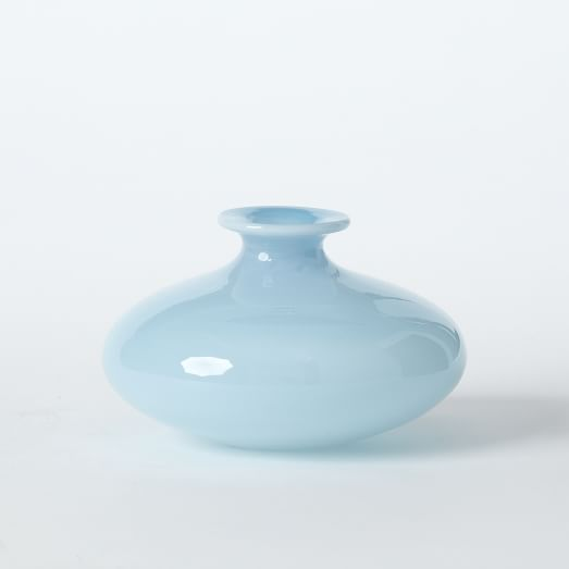 Flared Top Squat Vase, Frost Glacier Blue