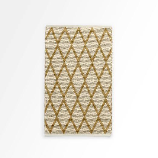 Knotted Diamonds Rug, Ivory/Horseradish, 3'x5'