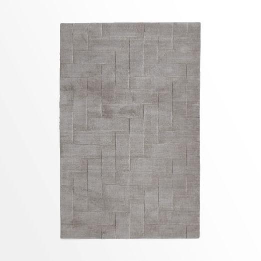 Solid Angled Basketweave Wool Rug, 3'x5', Platinum