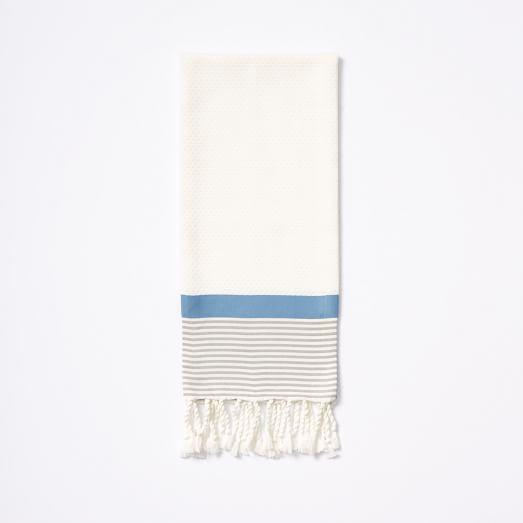 Stripe Border Hand Towel, Stone White/Platinum/Blue Willow, Monogram Option