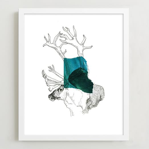Minted for West Elm, Reindeer in Color