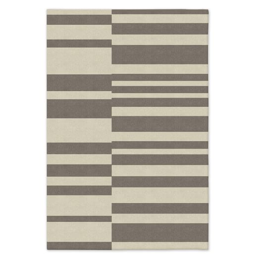SPO Offset Stripe Dhurrie, Platinum, 12'x18'