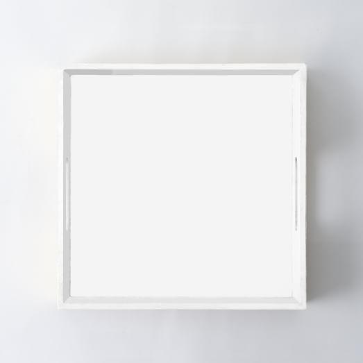 High Gloss Square Tray, White