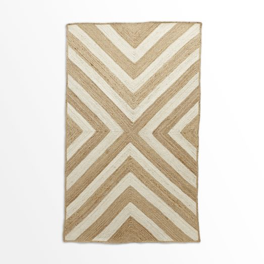 Rubicon Jute Rug, Natural/Ivory, 5'x8'