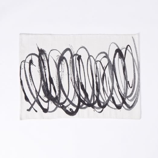 Scribble Printed Dhurrie, 2'X3', Graphite